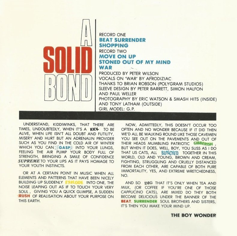 The Jam double single Beat Surrender, inside left cover