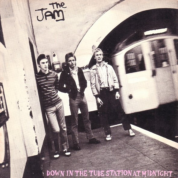 The Jam single Down In The Tube Station At Midnight, front cover