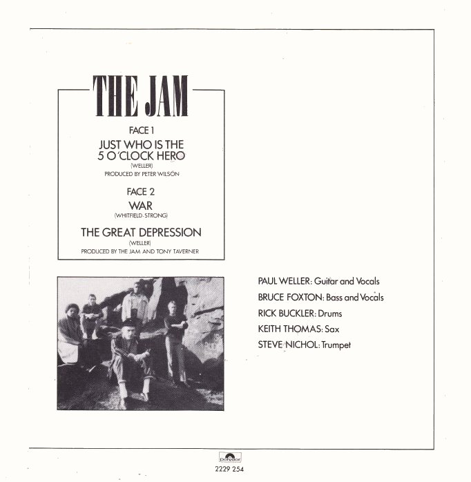 The Jam single Just Who Is The 5 O'Clock Hero, back cover