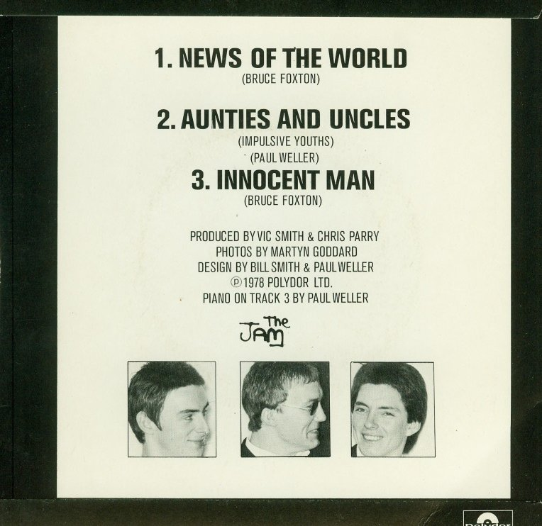 The Jam single News Of The World, backcover