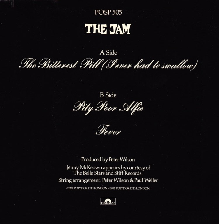 The Jam single The Bitterest Pill, back cover