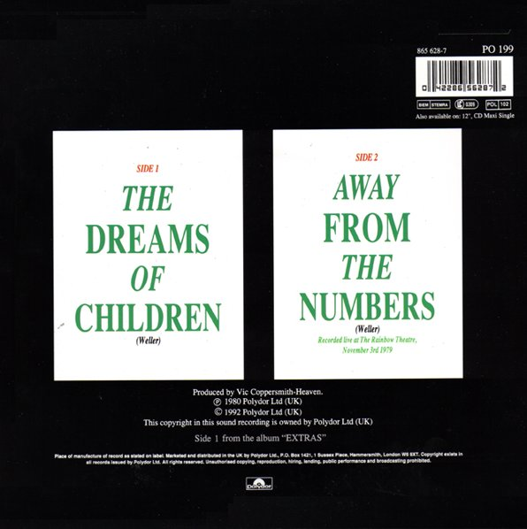 The Jam single The Dreams Of Children, back cover