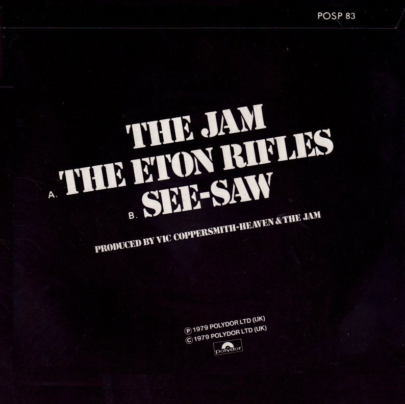 The Jam single The Eton Rifles, back cover