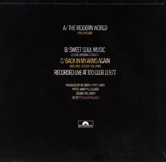 The Jam single The Modern World, back cover