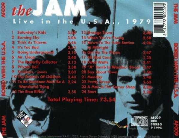 The Jam bootleg album, Bored With The USA - back